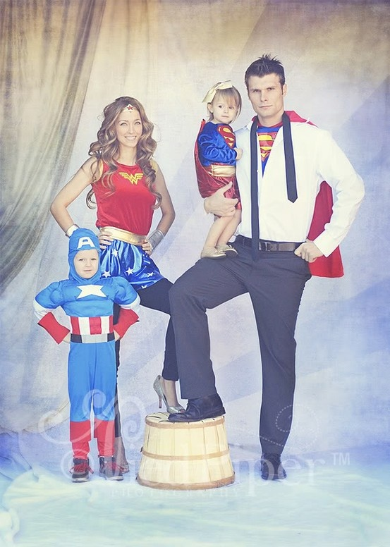 Super Heroes family costume idea for halloween