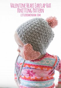 Heart ear flap hat
