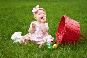 baby eating easter egg