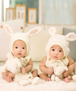 Dress up as bunnies for baby's first easter egg hunt