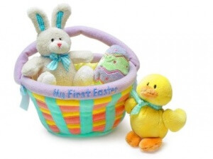 stuffed animal Easter basket for Baby's first Easter activities