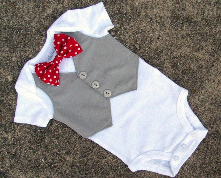 onsie with bow tie to wear for wedding for baby boy