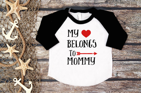 my hear belongs to mommy baby t shirt for mother's day