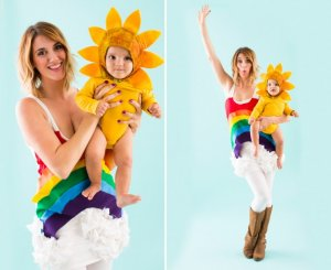rainbow and sun Halloween Costume for Mom and Baby