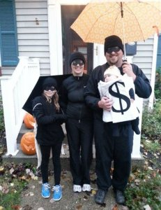 Family of robbers baby as a bag of money halloween costume