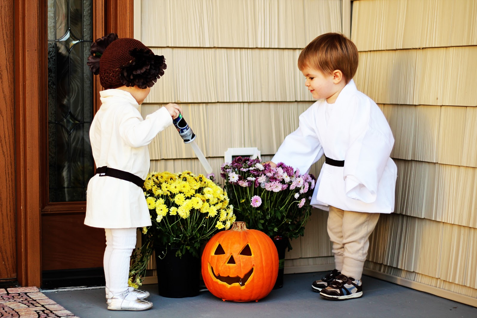 Princess Leia and Luke Skywalker cute halloween costumes for baby twins