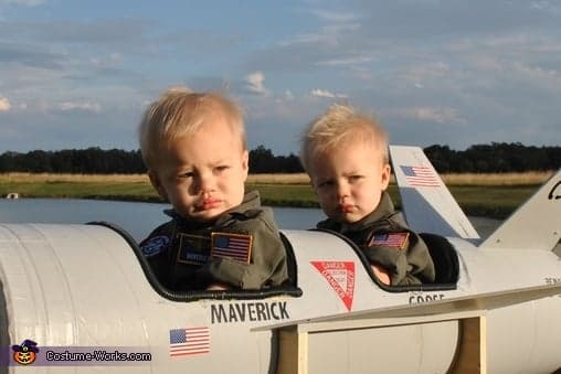 Maverick-Goose top gun cute halloween costumes for baby twins
