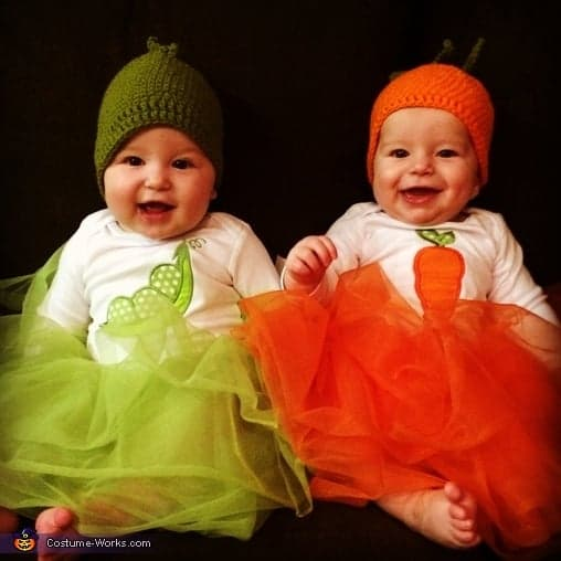 Peas-Carrots cute halloween costumes for baby twins