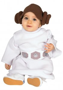 Princess-Leia halloween costume for a newborn baby