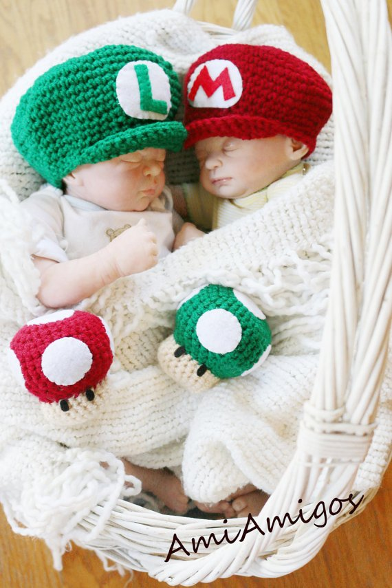 super mario and luigi cute halloween costumes for baby twins