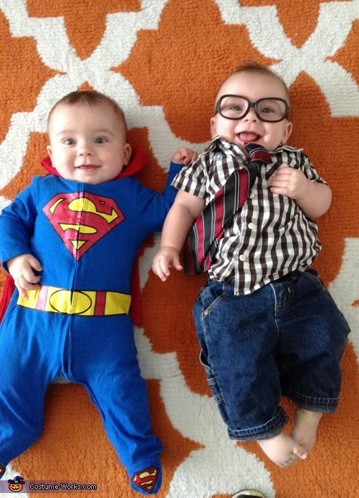 Superman-Clark-Kent cute halloween costumes for baby twins
