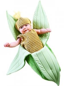 Sweet Corn halloween costume for a newborn baby