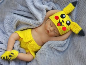 Pokemon costume - Pikachu halloween costume for a newborn baby