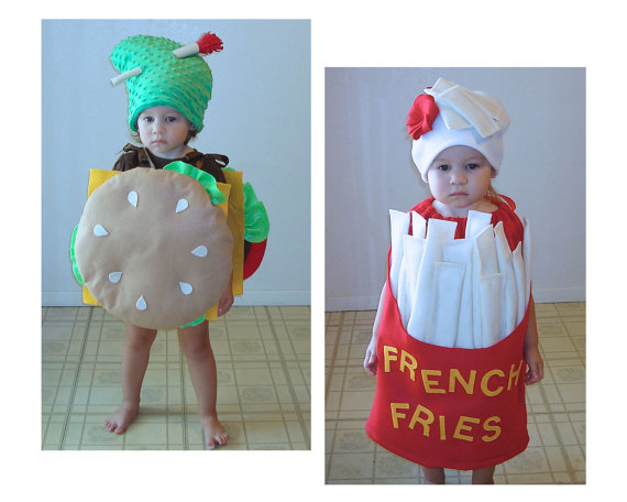 burger and french fries cute halloween costumes for baby twins