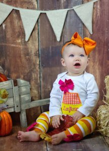 Candy corn halloween costume for baby