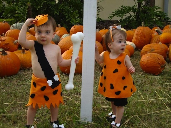 bambam and pebbles cute halloween costumes for baby twins
