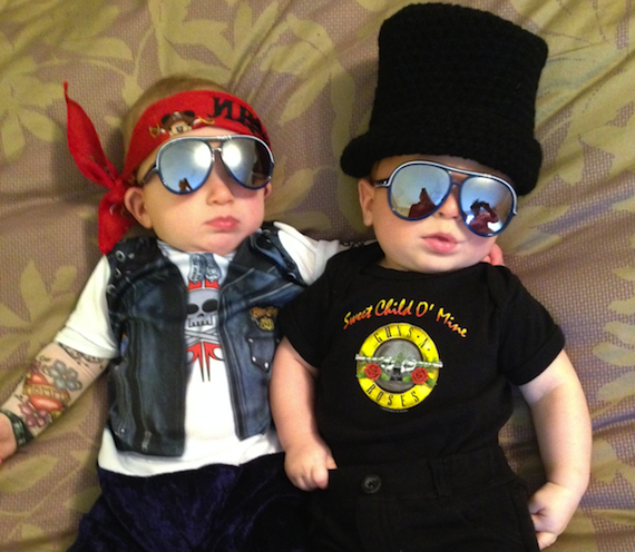 guns and roses cute halloween costumes for baby twins
