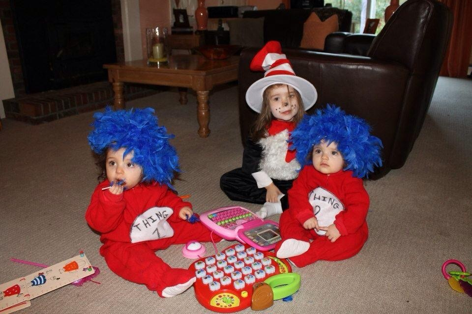 Thing #1 and Thing #2 cute halloween costumes for baby twins
