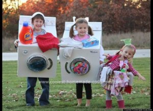 washer, dryer and dirty clothes halloween costume ideas for family with baby