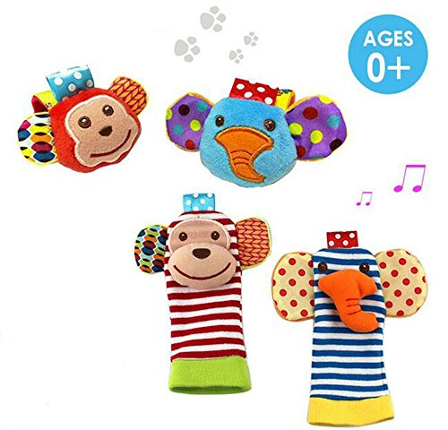 Daisy's Dream 4-Piece Animal Wrist Rattle and Foot Finder baby learning toy