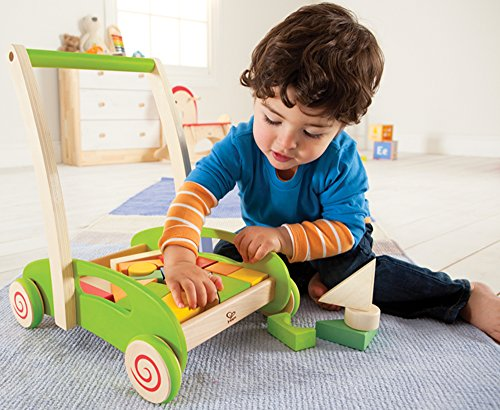 Hape - Block and Roll Cart Wooden Push and Pull Toy for baby