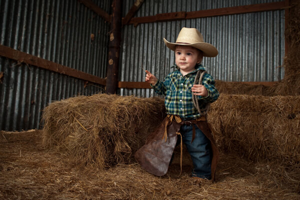 baby dressed up like a cowboy