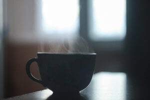 cup with steam coming out of it