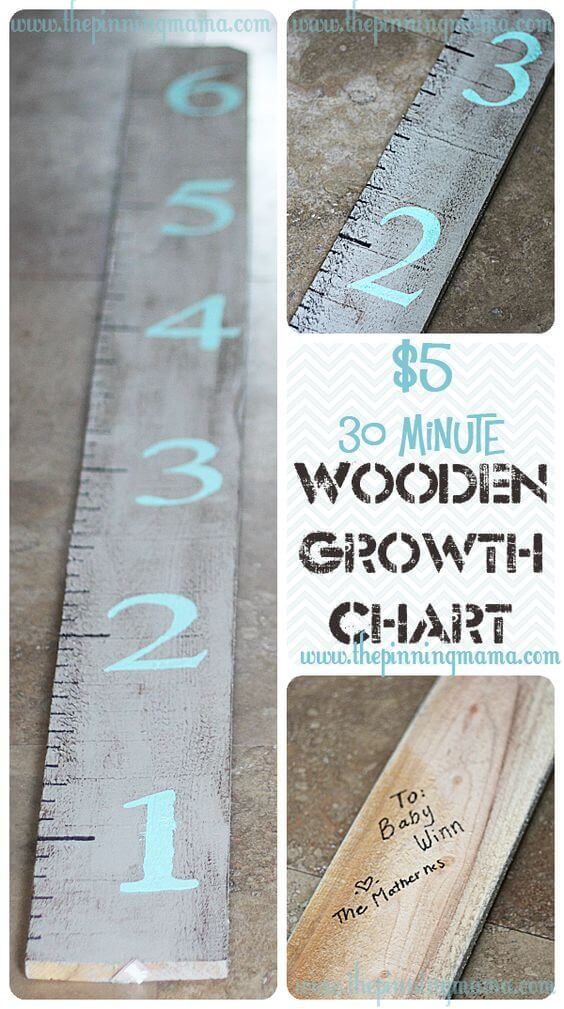 DIY Growth Chart, Wood, Baby Room Decoration Ideas