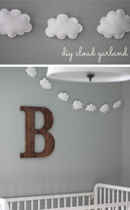 DIY Cloud Garland, Baby Room Decor, Decoration Ideas, Inspiration
