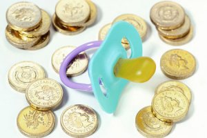 Coins and a pacifier