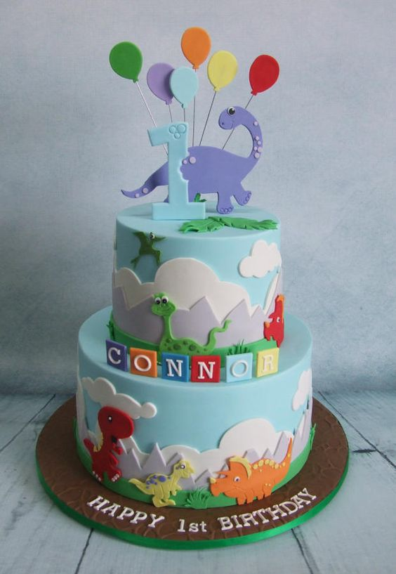 1st Birthday Cake Ideas, 1st Birthday Party, Dinosaur Theme, Party Ideas #Birthday #1stBirthday