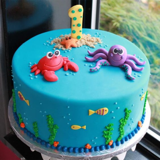 1st Birthday Cake Ideas, 1st Birthday Party, Under the Sea Theme, Party Ideas #Birthday #1stBirthday