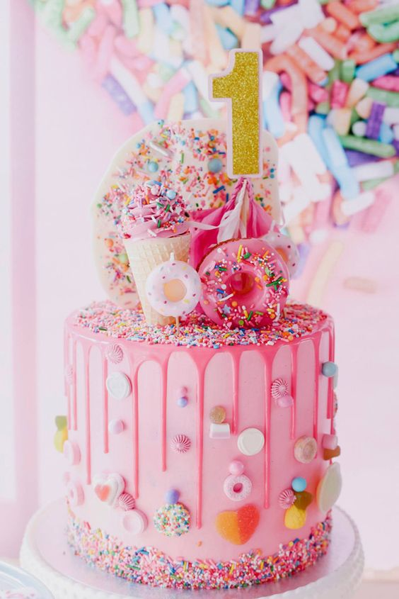 1st Birthday Cake Ideas, 1st Birthday Party, Pink Theme, Party Ideas #Birthday #1stBirthday